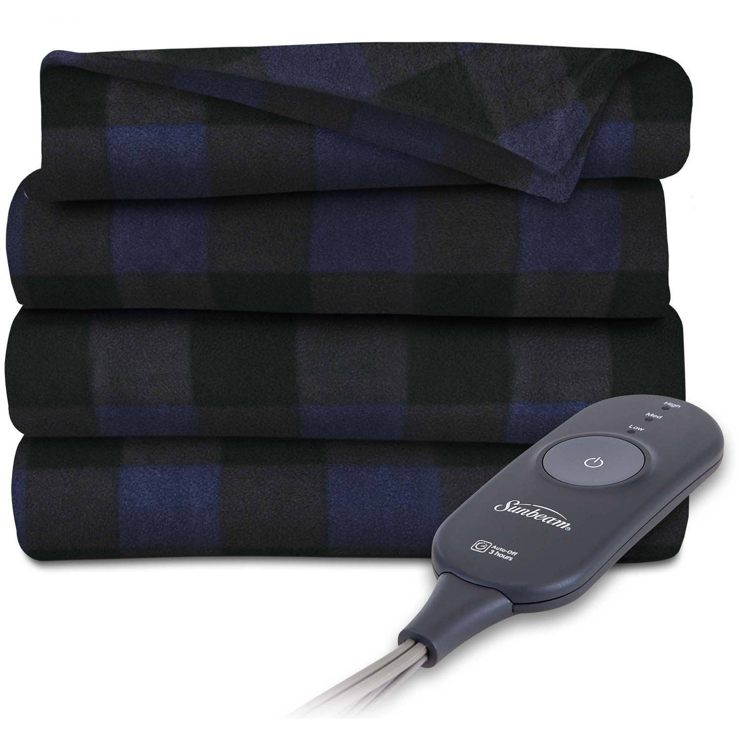 Sunbeam Heated Throw Blanket (Navy Plaid)