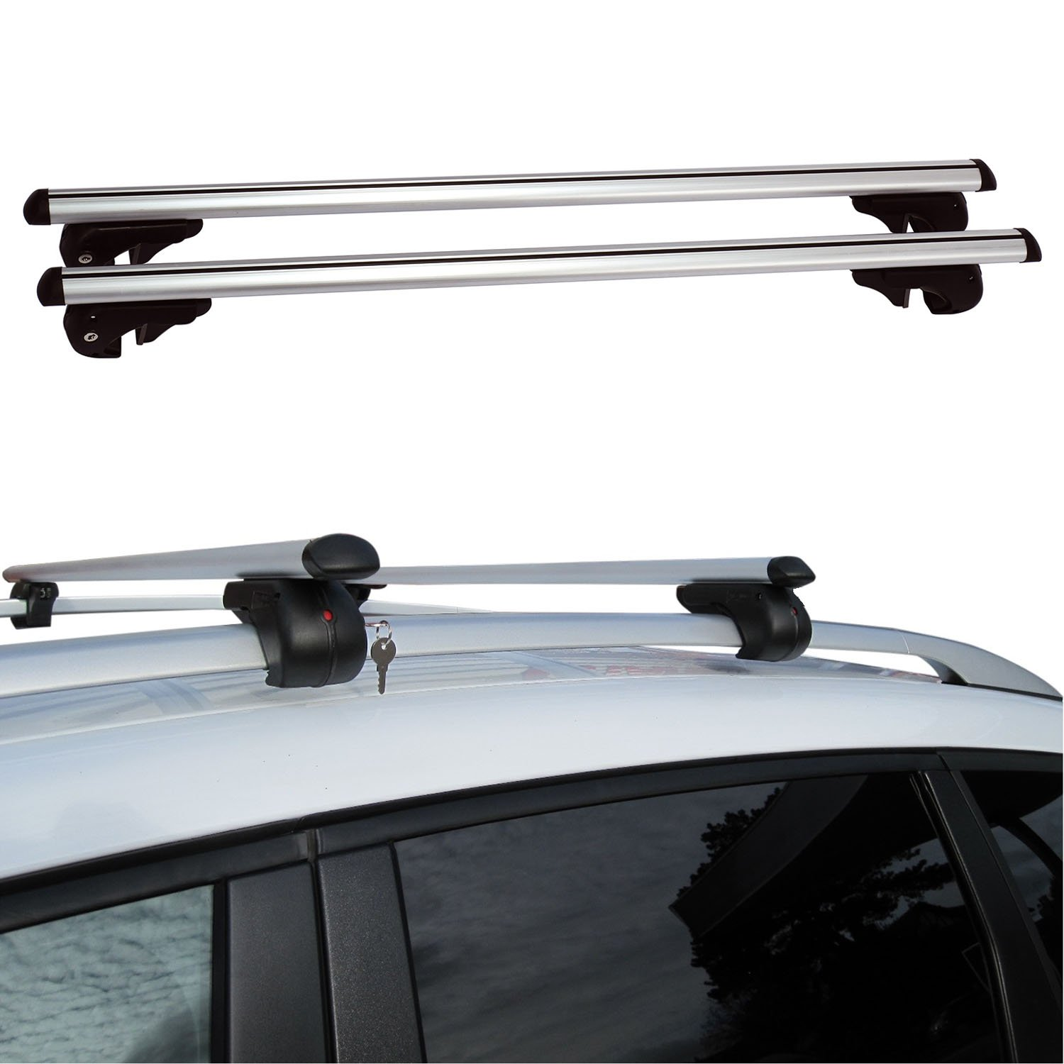 Fifth Gear® 120cm Heavy Duty Aluminium Anti-Theft Lockable Universal Roof Bars