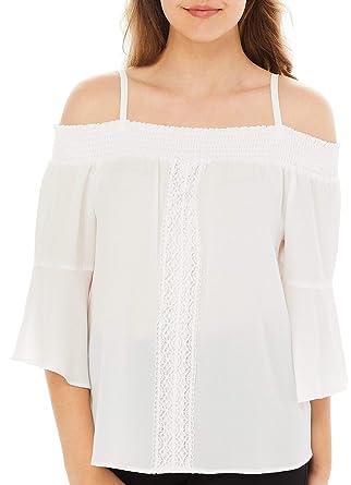4a0d9d5b845272 Amazon.com  A. Byer Juniors Crochet Bell Sleeve Cold Shoulder Top  Clothing