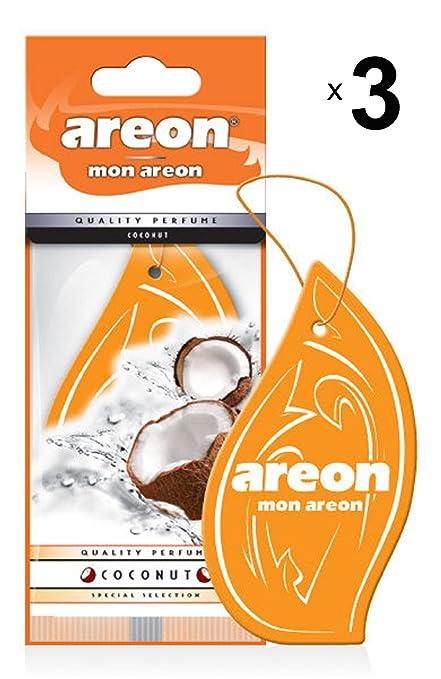 Coconut Set Pack x 3 AREON X Auto Duft Kokosnuss Lufterfrischer Autoduft Schwarz Aufh/änger Anh/änger Spiegel Kokos Cocos Pappe 2D
