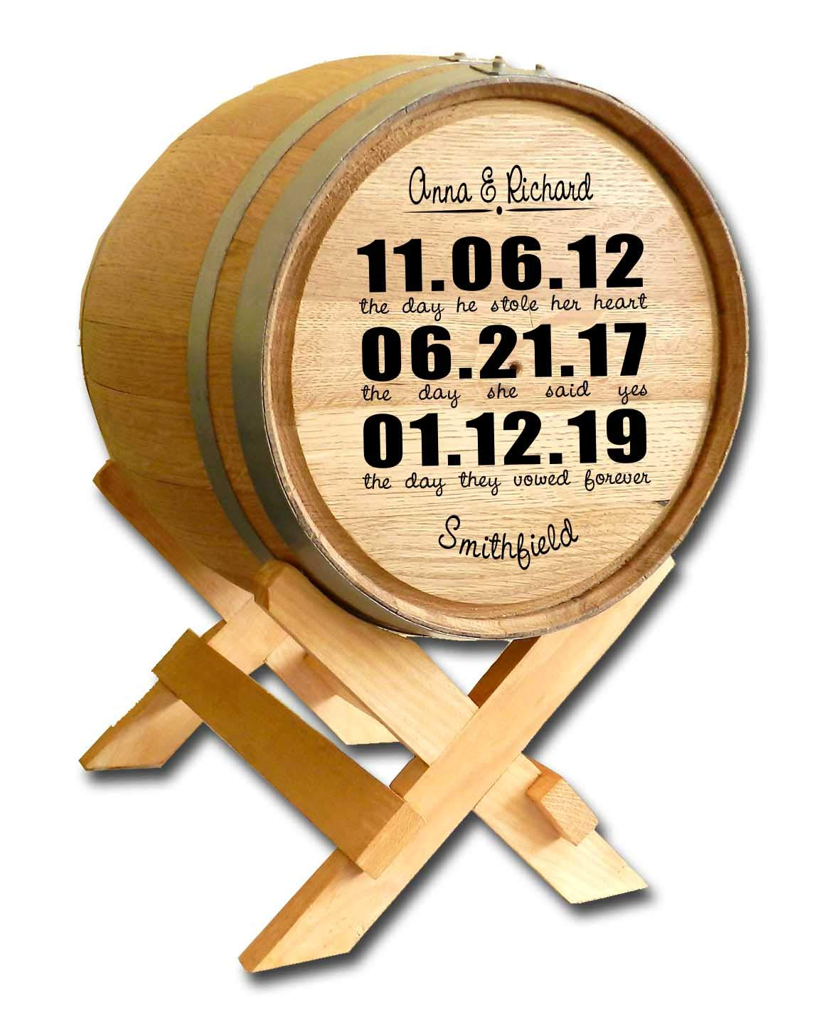 Personalized Wedding Barrel Card Holder Significant Dates of Meeting, Engagement, and Marriage
