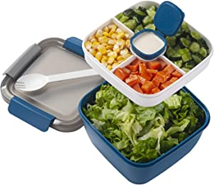 Freshmage Salad Lunch Container To Go, 42-oz Salad Bowls with 3 Compartments, Salad Dressings Container for Salad Toppings, Snacks, Men, Women (Blue)