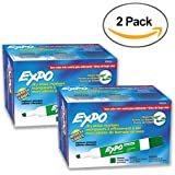 Expo 80004 Low Odor Dry Erase Markers, Chisel Tip, Green Color, 2 Sets with 12 Markers, Total of 24 Markers