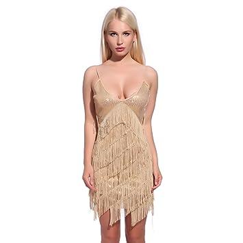 Maboobie - Disfraz de charlestón flecos lentejuela Vestido Disfraces de los años 20 1920s para Fiesta