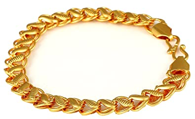 cfb122681e3 Image Unavailable. Image not available for. Colour: panassh gold plated  designer hollow mens bracelet handmade