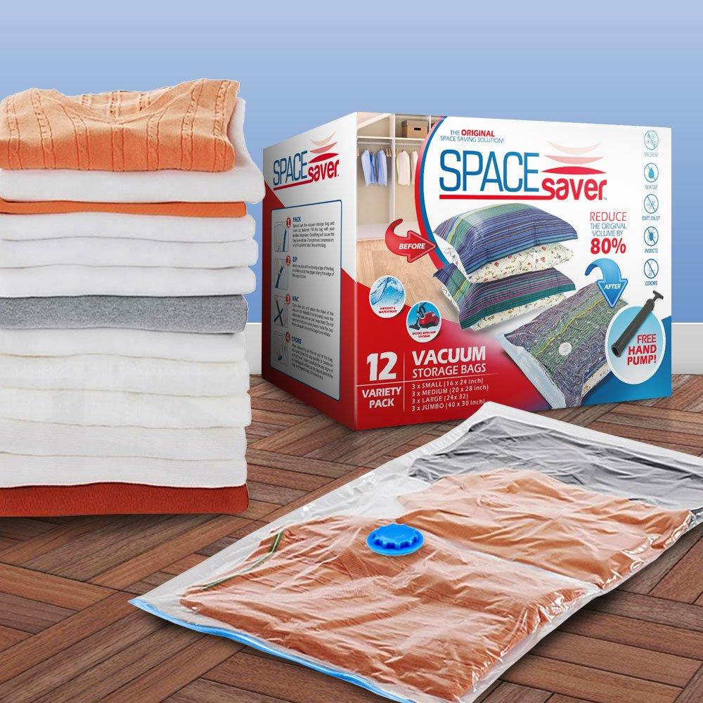 Spacesaver Premium al vacío bolsas de almacenamiento (garantía de reemplazo de por vida) Variety Pack (3 x pequeño, tamaño mediano, grande y Jumbo) 80% más ...