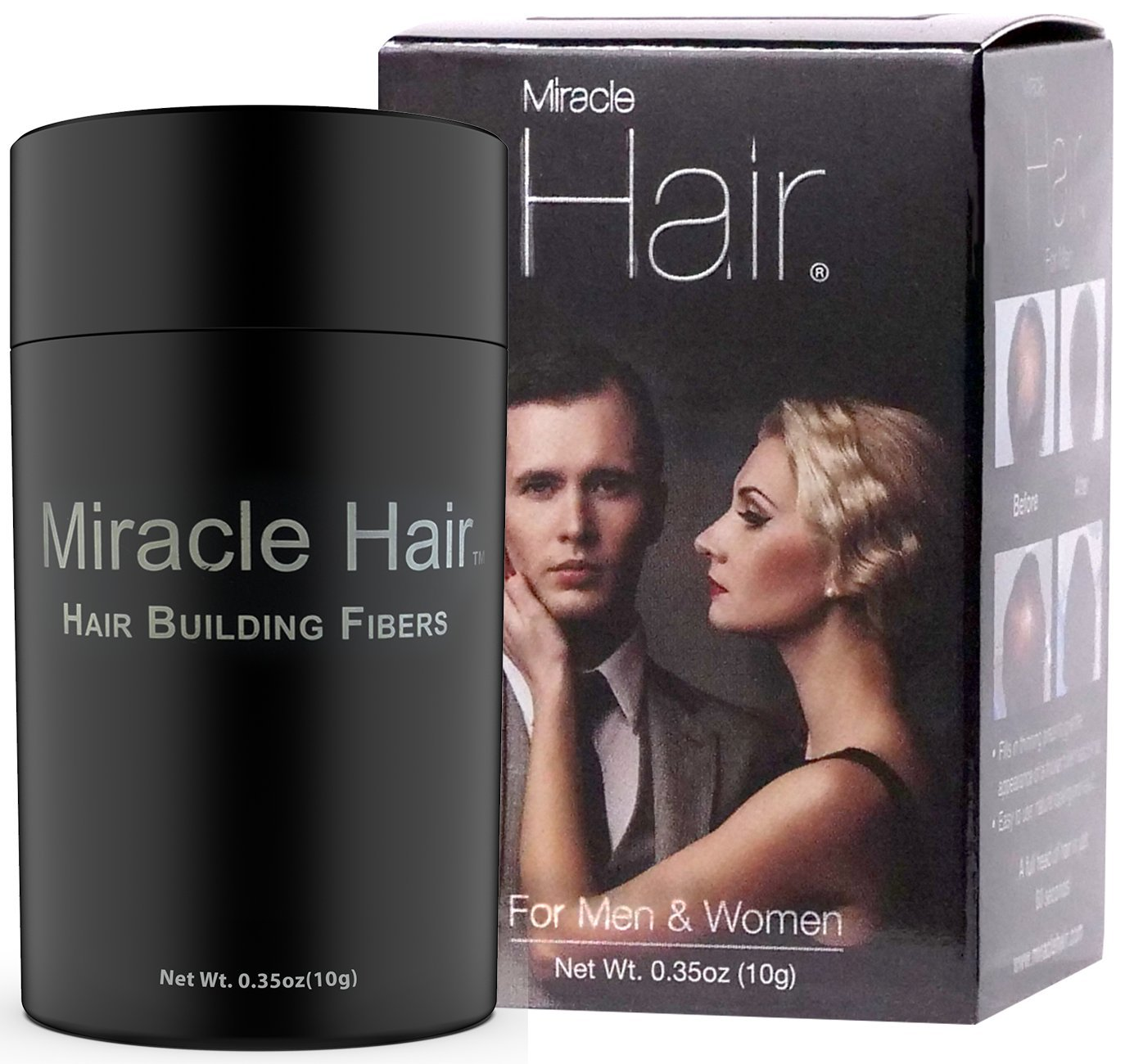 Miracle Hair – Hair Loss Concealer – Highest Quality Natural Hair Building Fibers Thickens Thinning Hair Instantly for Men And Women 10 Grams (30 Day Supply)