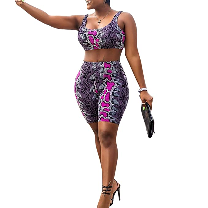 cdfbf90da2db Women's Sexy Bodycon Snake Leopard Print Tank Crop Top Shorts Sets Club 2  Piece Outfits Rose