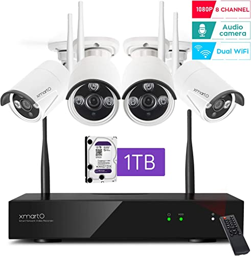 2020 Dual WiFi 8-CAM 1080p xmartO 8-Camera WiFi Security Camera System Wireless with 4X 1080P WiFi IP Cameras for Home and Business Surveillance Dual WiFi Routers in NVR,100ft IR, 1TB HDD