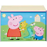 Peppa Pig Kids Toy Box - Childrens Bedroom Storage Chest with Bench Lid by HelloHome