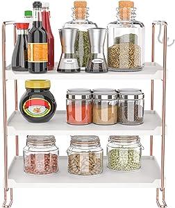 3-Tier Stackable Organizer Shelf, Bathroom Countertop Storage Shelf, Kitchen Spice Rack, Freestanding Cosmetic Holder for Bedroom Counter (Rose Gold)