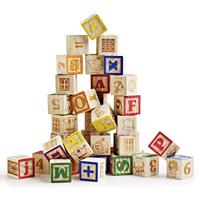 SainSmart Jr. Wooden ABC Blocks 40PCS Stacking Blocks Baby Alphabet Letters, Counting, Building Block Set with Mesh Bag for Toddlers: Toys & Games