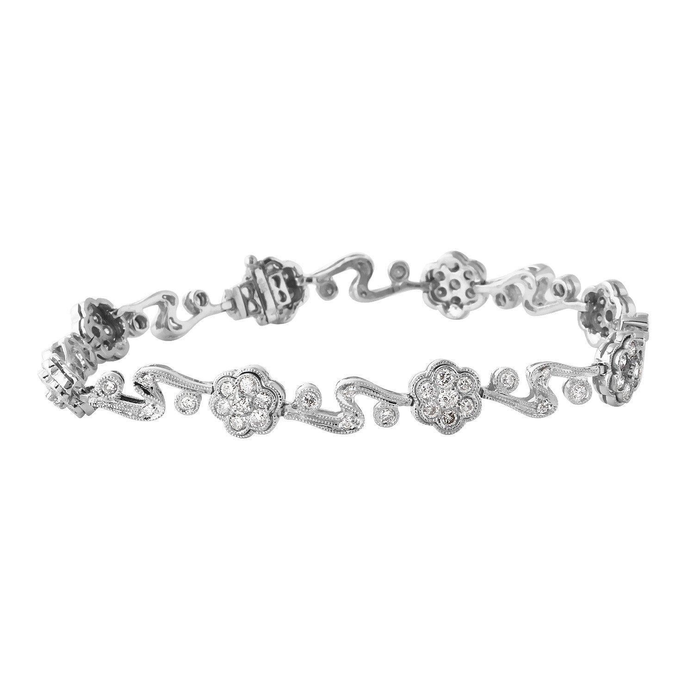 1.5カラット天然ダイヤモンド14 Kホワイトゴールドブレスレットの女性 B079R6Z2QH