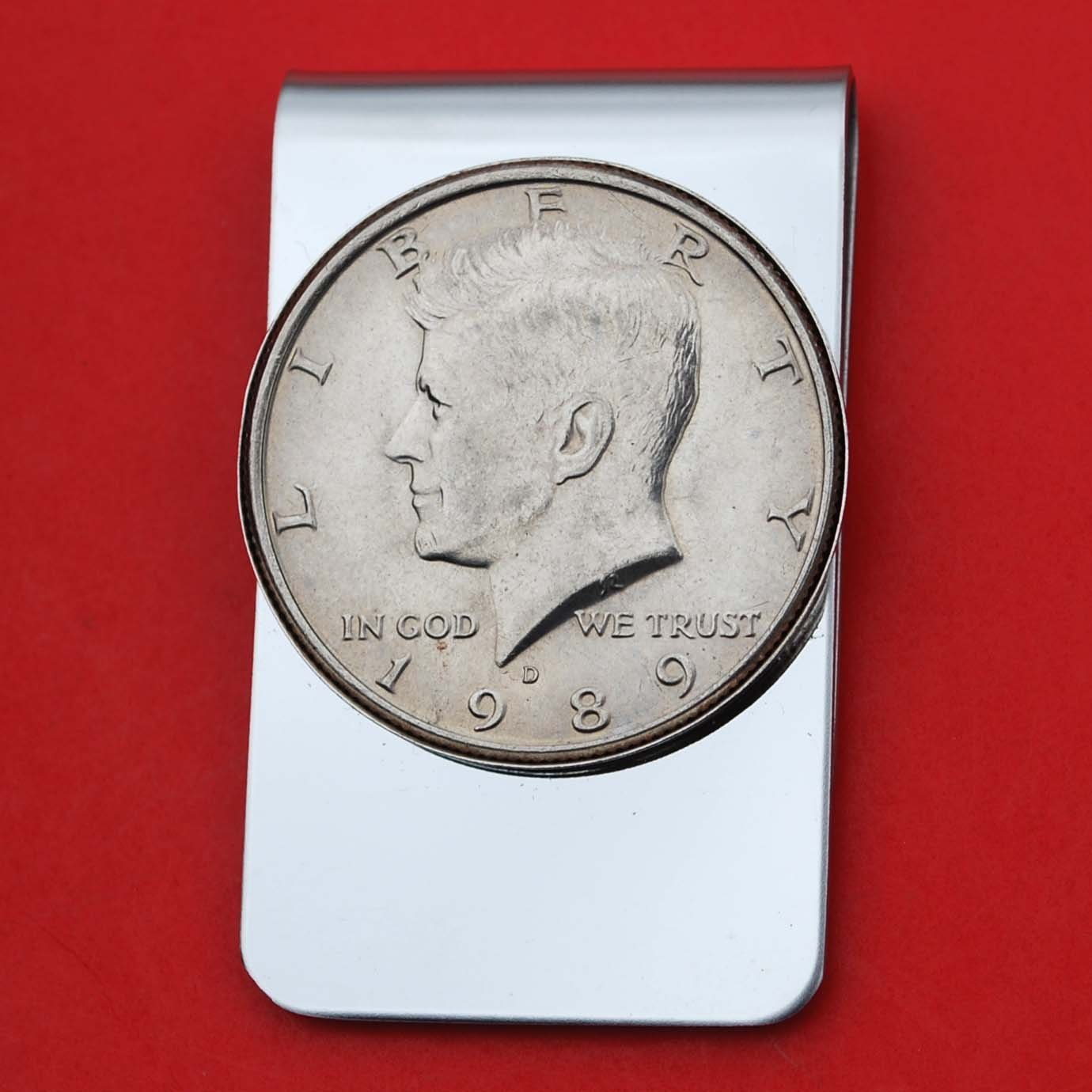 US 1989 Kennedy Half Dollar BU Uncirculated Coin Stainless Steel Money Clip NEW - Silver Plated Coin Bezel