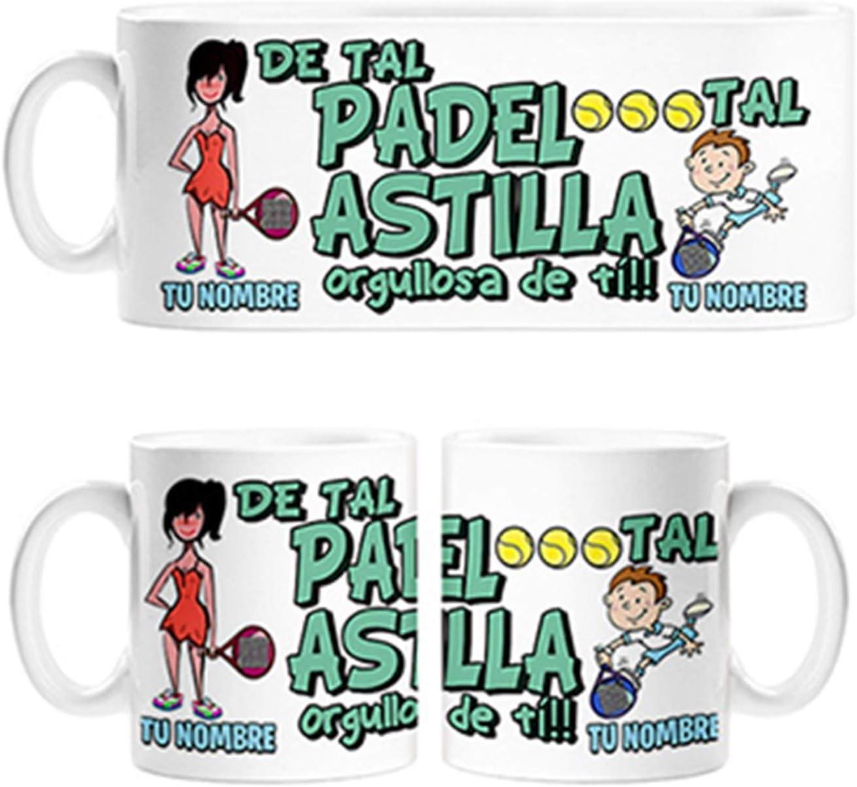 Diver Bebé Taza de Tal Palo Tal Astilla jugadora de Padel Hijo Orgullosa de ti mamá Personalizable con Nombre - Cerámica