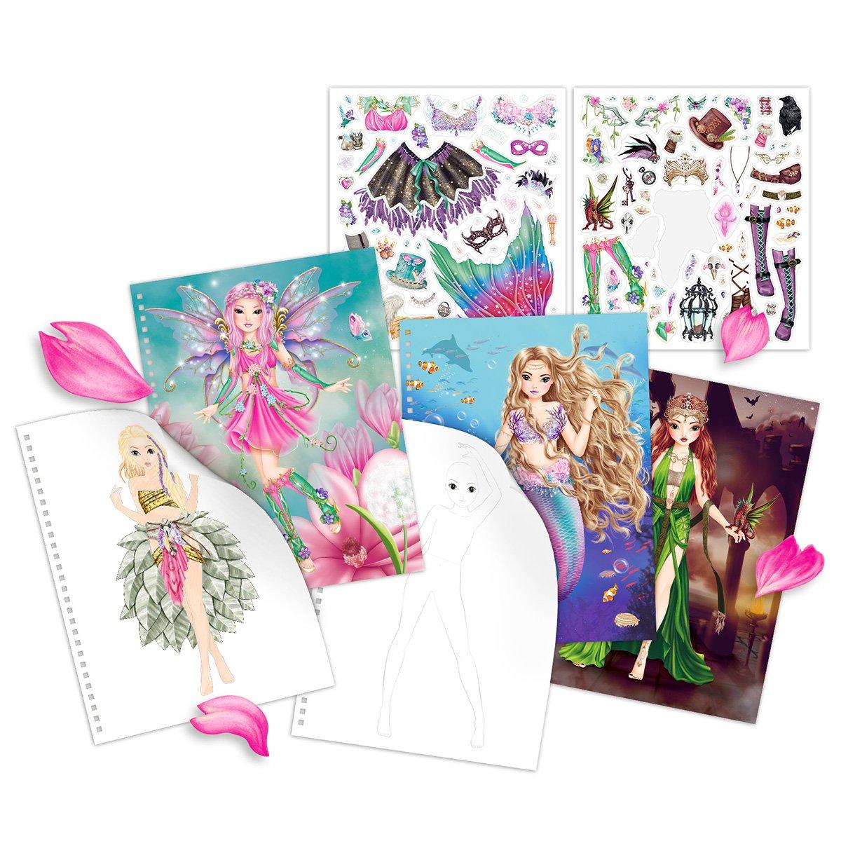 TopModel 3433.001/Fantasy Model Libro para Colorear Cover con Luces LED y Sonido 2/Pliego de Pegatinas 80/innenseiten 4/Colores