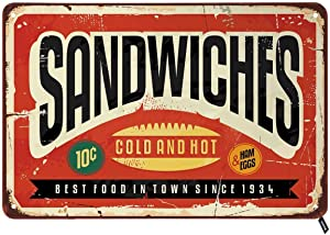Swono Sandwiches Tin Signs,Cold and Hot Best Food in Town Vintage Metal Tin Sign for Men Women,Wall Decor for Bars,Restaurants,Cafes Pubs,12x8 Inch