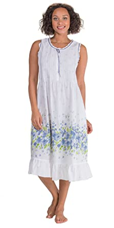 La Cera Sleeveless Long Cotton Lawn Nightgown by In Meadow Mist (Small (6- 477397dd0