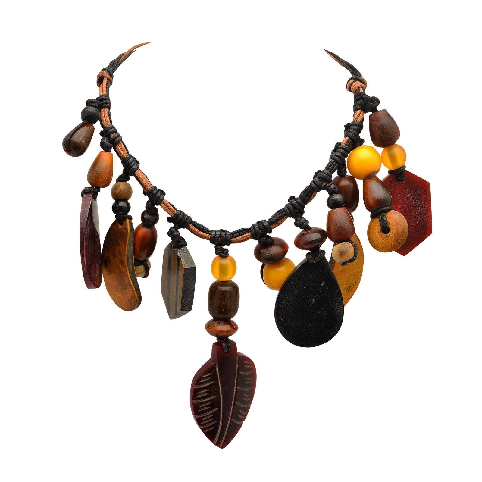 Zephyrr Pendant Necklace for Women Tibetan Style Modern Wood Glass Beads in Dori