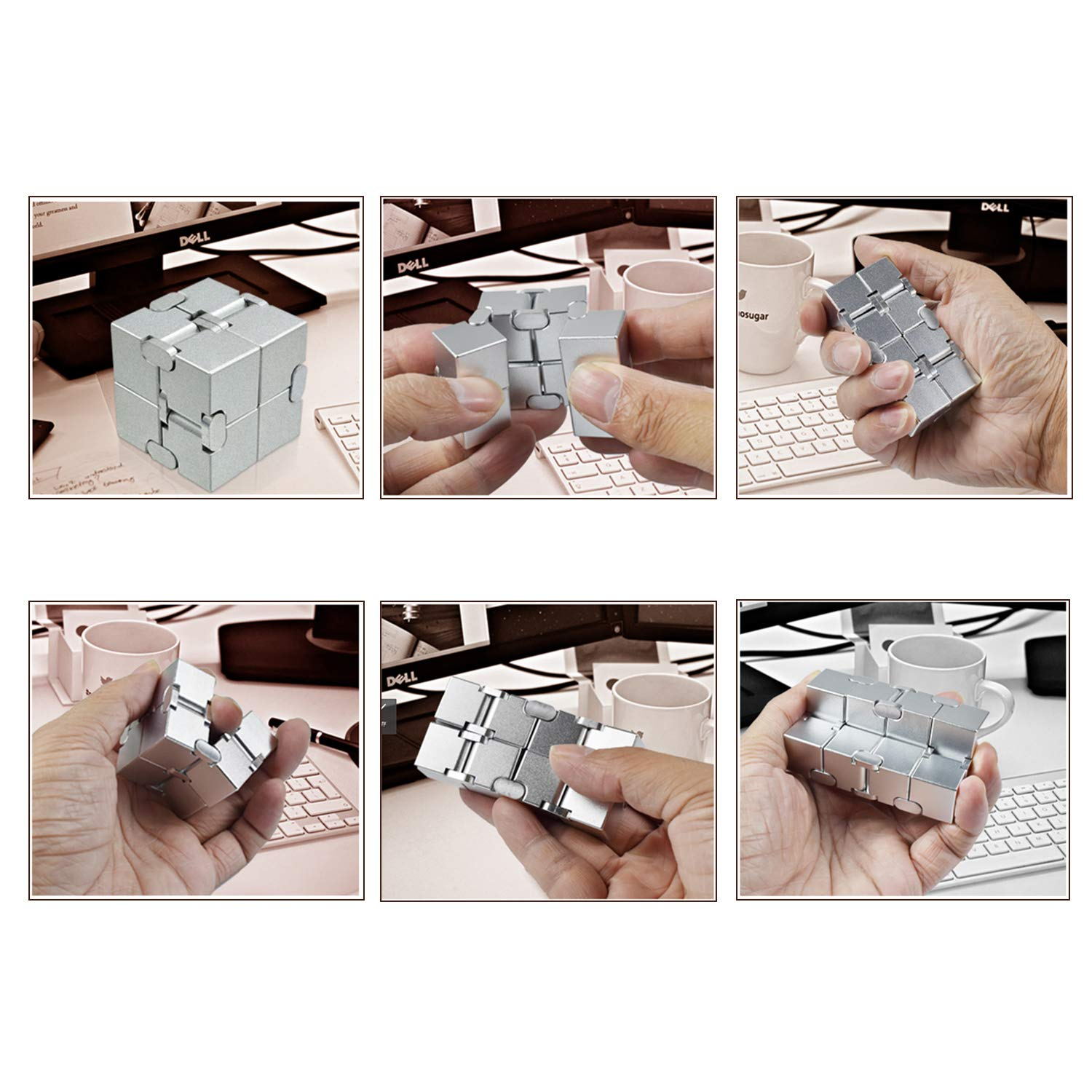 Xtozon Infinity Cube New Version, Aluminum Metal Fidget Finger Cube Toys - Office Decompression Toys Prime for Stress and Anxiety Relief/ADHD, Gifts for Adult and Kids, Cool Stuff. by Xtozon (Image #5)