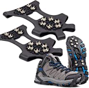 HONYAO Ice Cleats Ice Grips Traction Cleats Grippers, Anti Slip 10 Teeth Stainless Steel Crampons Durable Silicone Over Shoe Snow Grips (New Upgrade)