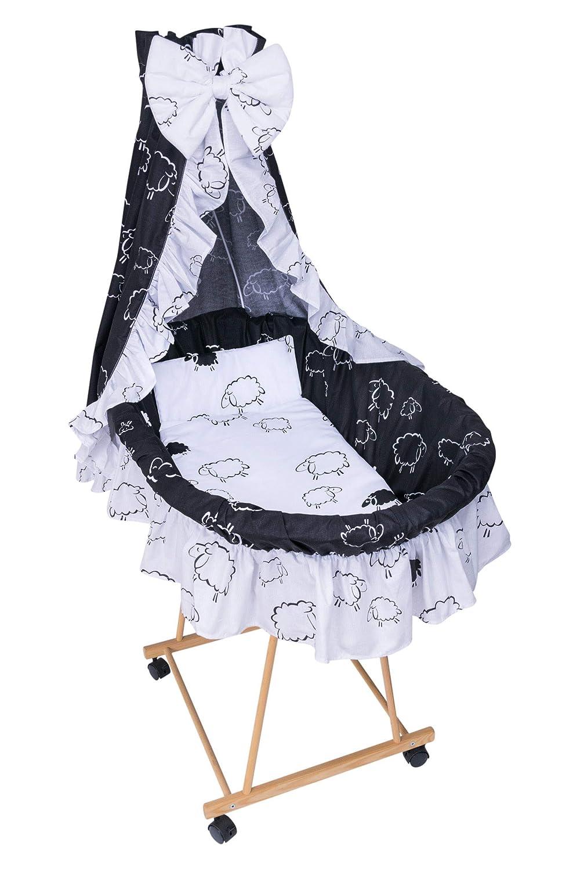 Amilian/® 9tlg Textile Ausstattung f/ür STUBENWAGEN Bollerwagen Himmel Matratze Baby Bettw/äsche Schaf schwarz//wei/ß