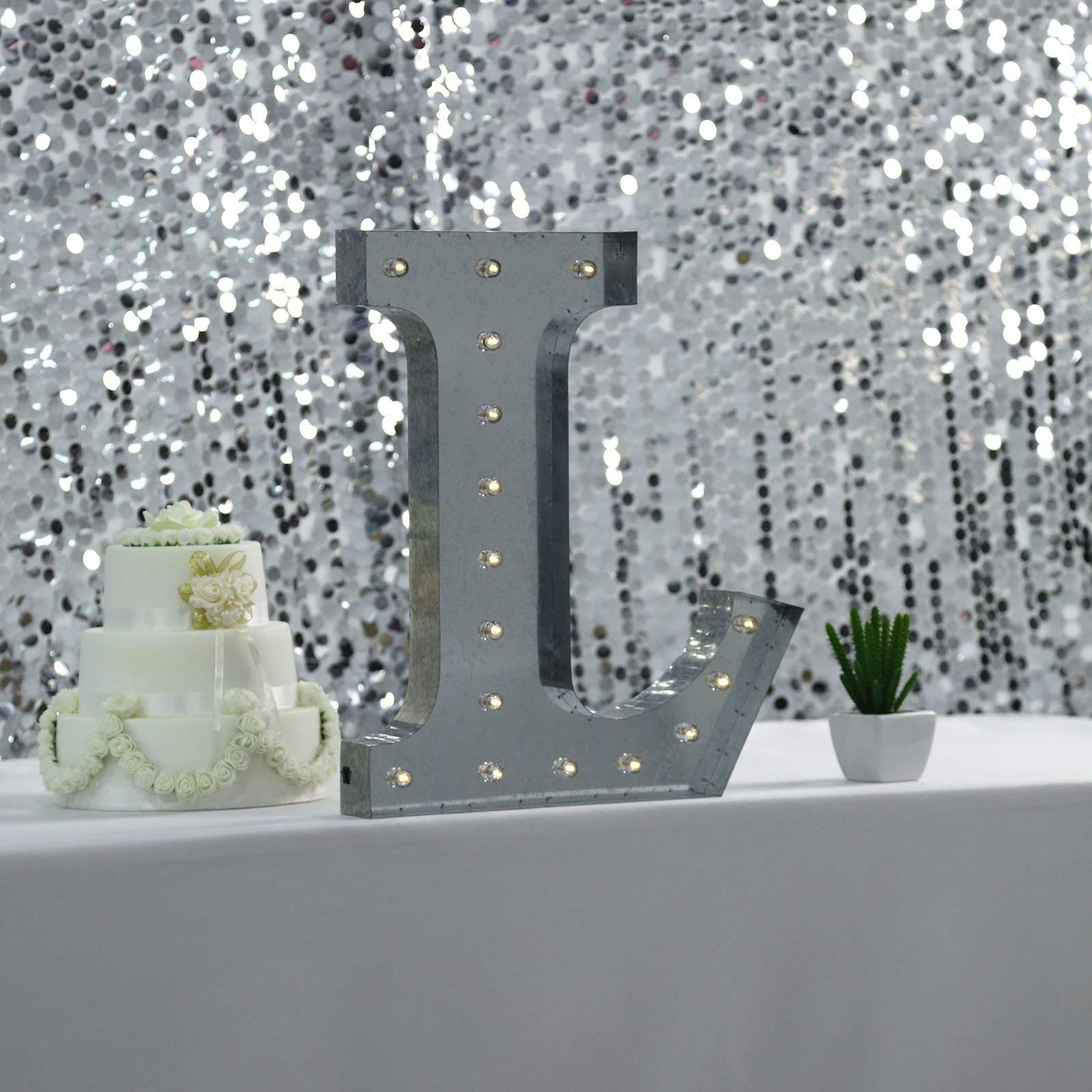 Tableclothsfactory 2 FT | Vintage Metal Marquee Letter Lights Cordless with 16 Warm White LED - L by Tableclothsfactory