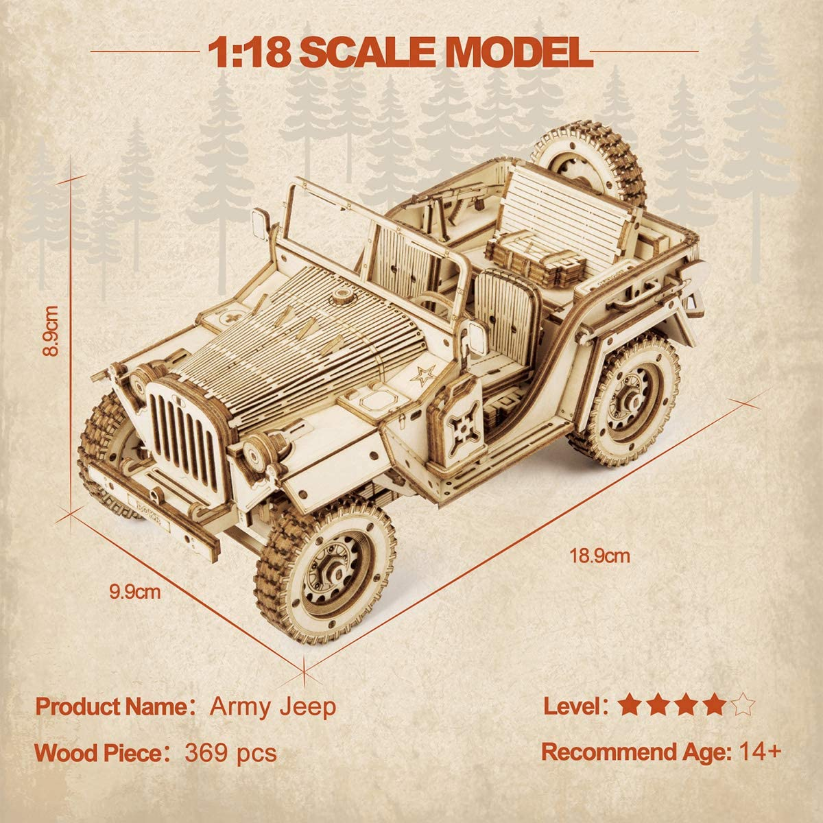 Army Jeep Christmas Birthday Gifts For Teens and Adults Car Model Building Kits ROKR Wooden Model kit For Adult