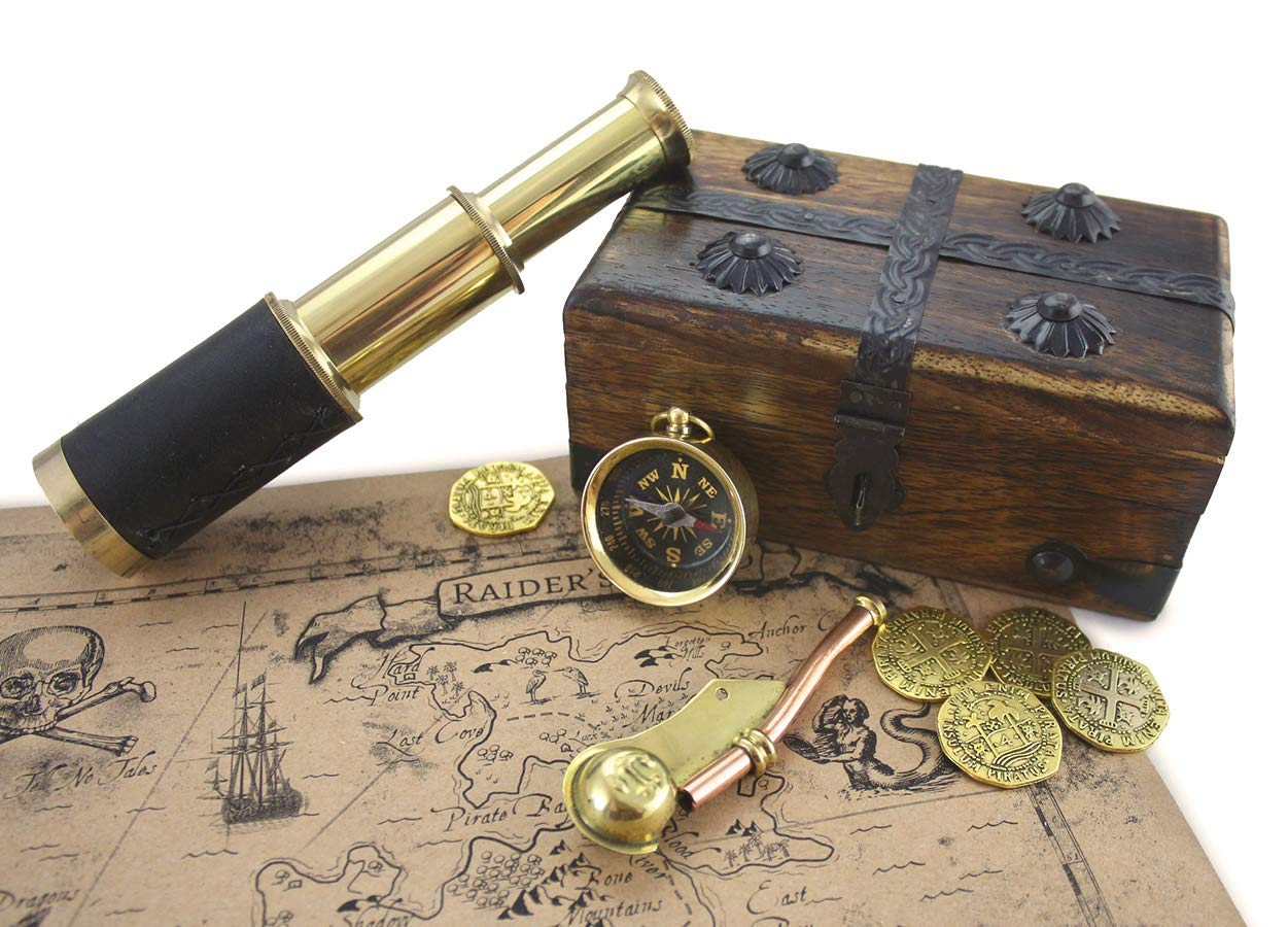 Pirate Treasure Chest Solid Wood With 6'' Telescope Spyglass Brass Functional Compass, Bosun Whistle, Metal Coins, Treasure Map By Well Pack Box,