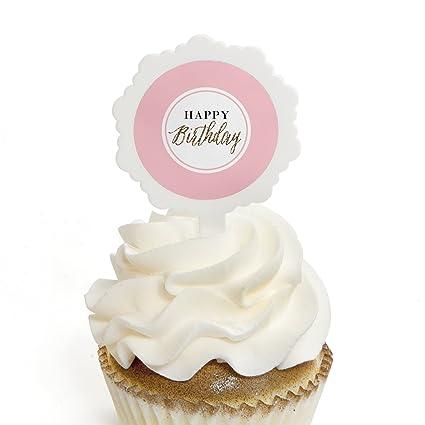 Amazon Com Chic Happy Birthday Pink Black And Gold Cupcake