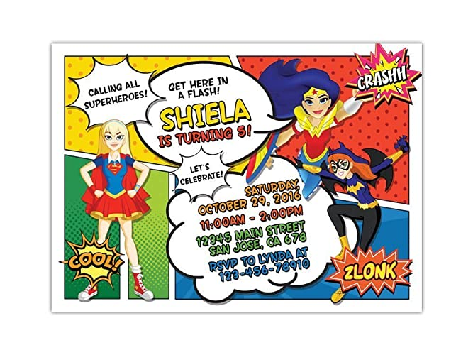 Image Unavailable Not Available For Color DC Superhero Girls Birthday Party Invitations ANY AGE Custom