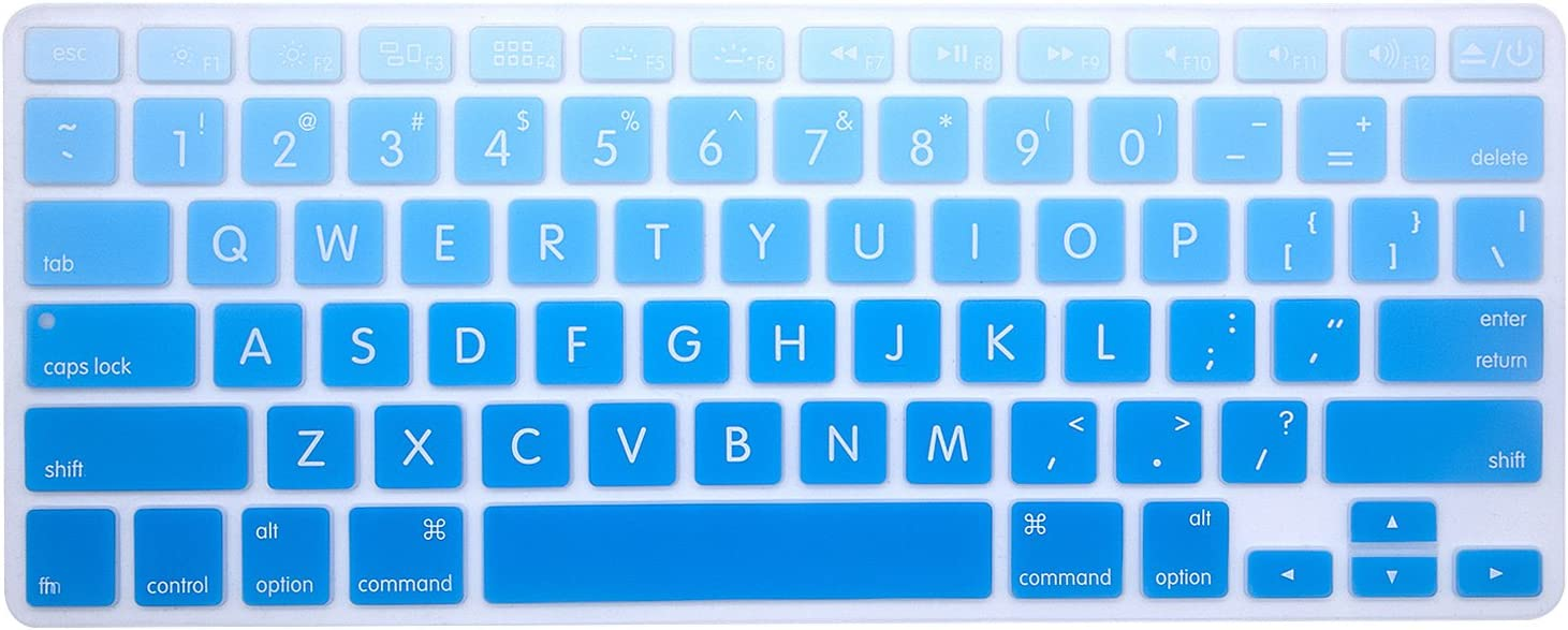 HRH Silicone Keyboard Cover Skin for MacBook Air 13,MacBook Pro 13/15/17 (with or w/Out Retina Display, 2015 or Older Version)&Older iMac USA Layout,Big Font Sky Blue Ombre