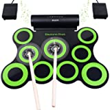 BONROB Electronic Drum Set,Drum Pad Support Roland Games Foldable Roll Up Drum Kit Built in Speaker,9 Drum Pads With…
