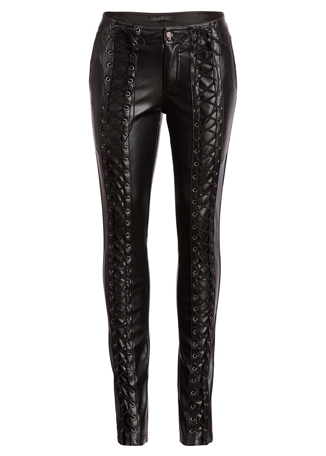 Womens Punk Rave Black Vegan Leather Laced Up Skinny Fit Pants