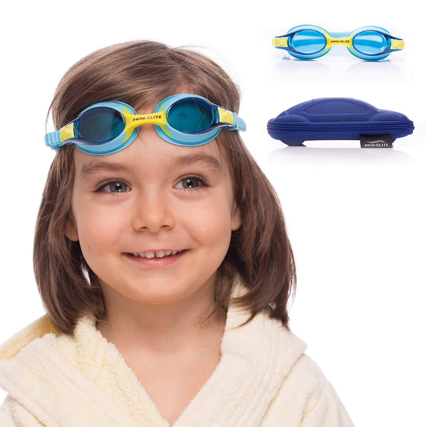 Kids Swim Goggles || Swimming Goggles for Kids (Age 2-8 Years Old) with Fun Car Hardcase for Easy Transportation || Cushioned Frames || Anti Fog Lenses || UV Protection || by SWIM ELITE