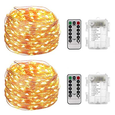 BBwin Fairy String Lights Copper Wire Battery Operated 100 Led 33ft Warm White Ambiance Lighting for Hanging Decor Set of 2 : Garden & Outdoor