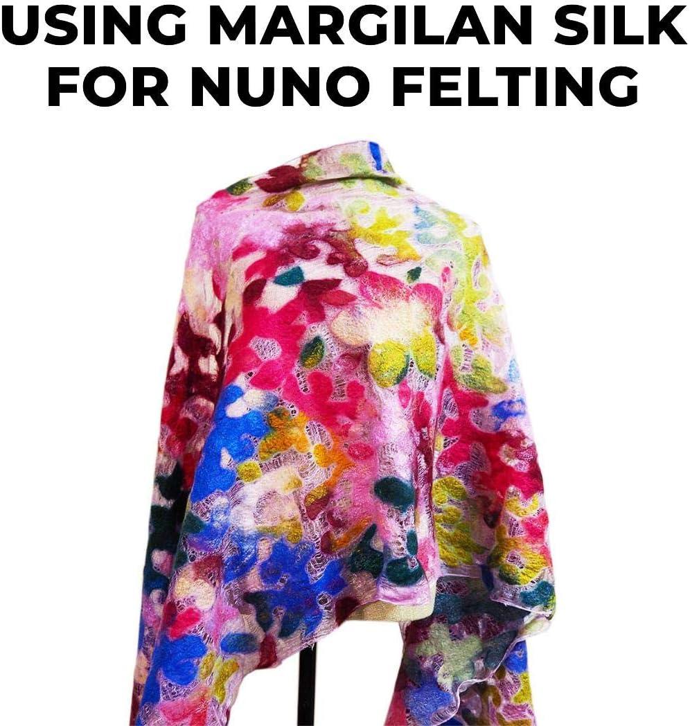 3 meters Margilan Natural Silk Gauze Fabric 90cm - Nuno Felting Eco-Print Shibori Dyeing Felting Supplies Store Uzbek Margelan Silk Gauze