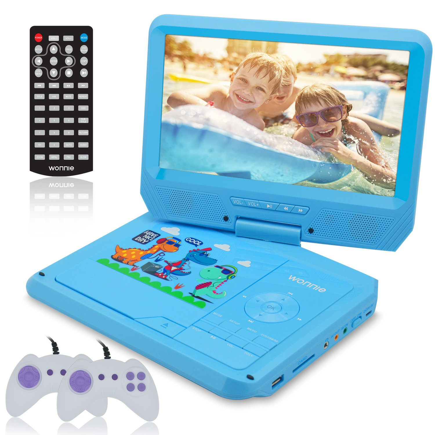 WONNIE 9.5 Inch Kids Portable DVD Player for Car with Games Function, USB/SD Slot (Blue)