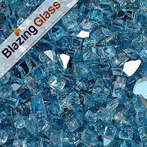 Blazing Fireglass 10-Pound Reflective Fire Glass with Fireplace Glass and Fire Pit Glass, 1/4-Inch, Pacific Blue (Glass Blue Fire Pacific)
