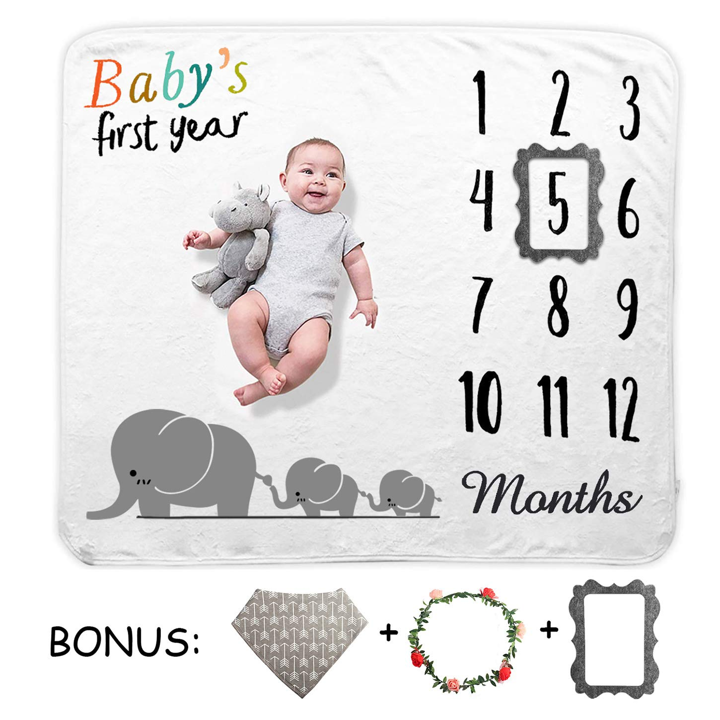 TUTUWEN Baby Monthly Milestone Blanket, Growth Blanket Photography Background Prop, Photo Memory Shower Gift for Infant Boy Girl Unisex-Includes Head Garland, Bib and Frame Marker (40''x55'') by TUTUWEN