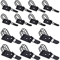 Rustark 50Pcs 2 Sizes Adjustable Self-Adhesive Nylon Cable Straps Cable Ties Cord Clamp for Wire Management, Large and…