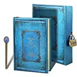 Secret Password Journal A5 Vintage Hardcover Notebook Boxed Diary Weekly Planner Magic Book Stationery Gift with Book Ruler (Vintage Blue)