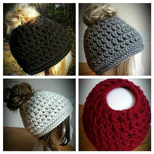 Messy bun ponytail style hat - most ready to ship- ski - winter - choice  colors - dark brown 52c79b8fc