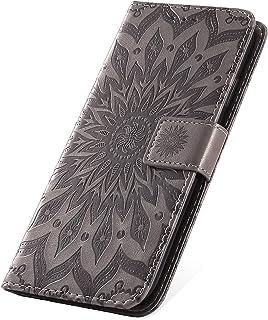 SainCat Custodia Portafoglio Pelle Morbida Fiore del Sole Ultra Slim Antiurto Flip Leather Case con Funzione di Supporto Cover Compatibile con Samsung Galaxy J8 2018-Blu