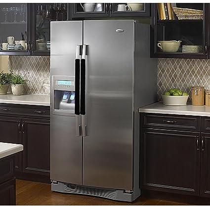 Vezfinel Refrigerator Door Handle Covers,Fridge Oven Dishwasher  Protectoer,Catch Fingerprints&Smudges Kitchen Appliances Handmade  Decoration (Black ...