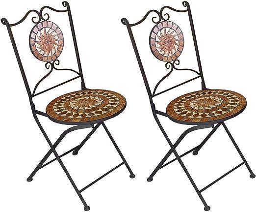 2 pieza mosaico Jardín Silla plegable Silla de Bistro mosaico silla Hierro silla para jardín o balcón terraza Muebles: Amazon.es: Jardín