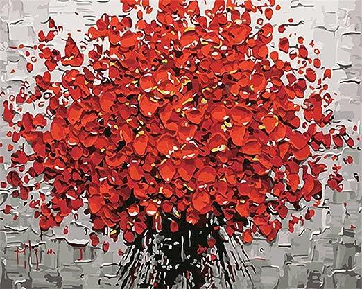 Captaincrafts New Malen Nach Zahlen 16x20 Fur Erwachsene K0inder Leinwand Blooming Rote Blumen Mit Rahmen Amazon De Kuche Haushalt