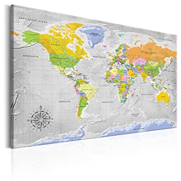 Wunderbar Decomonkey 120x80 Cm XXL POLITISCHE Weltkarte DEUTSCH   PINNWAND Bilder U0026  Leinwand! Leinwand Bild!