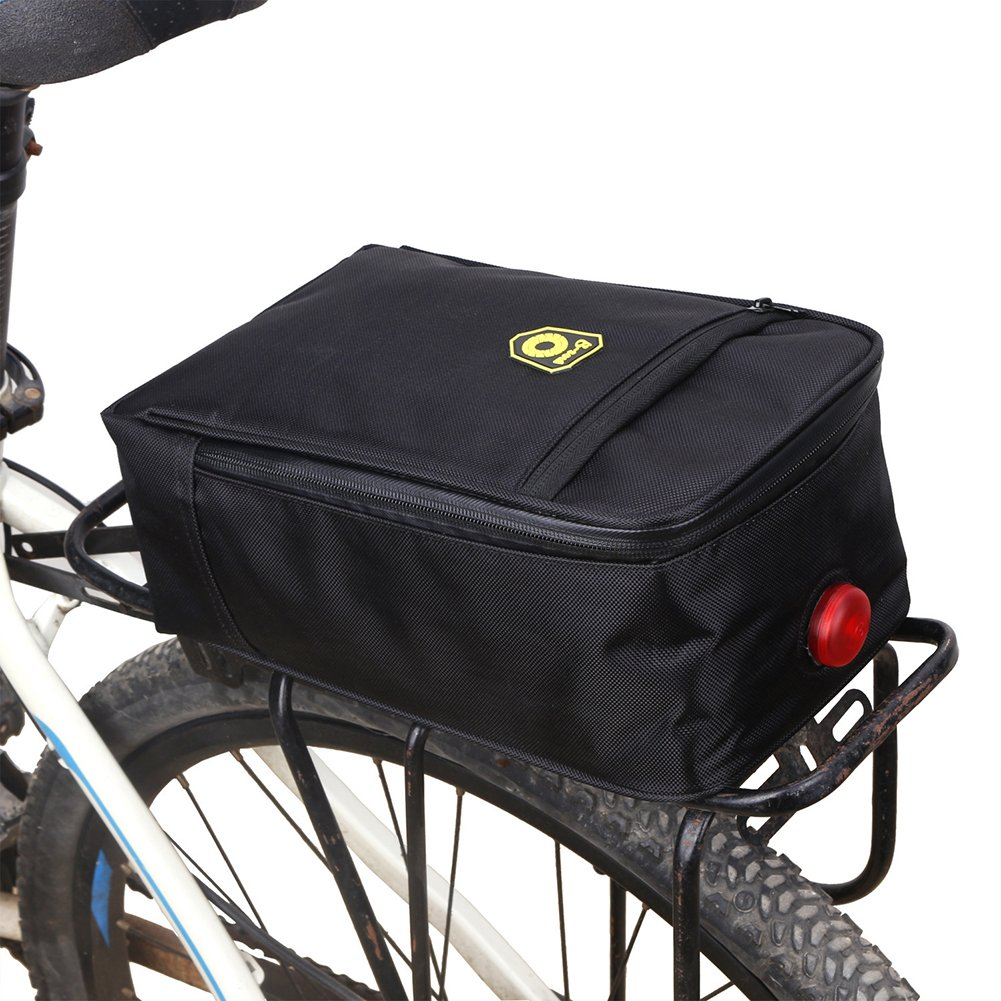 Sue Supply Black Bicycle Trunk Bag Electric Bike Rear Seat Trunk Bag Pad Pannier Durable & Waterproof Polyester Zipper Multi-layers Pockets