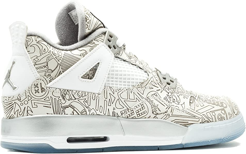 new product 4bed7 75880 Jordan Air 4 Retro Laser BG Big Kids Shoes White Chrome-Metallic Silver  705334